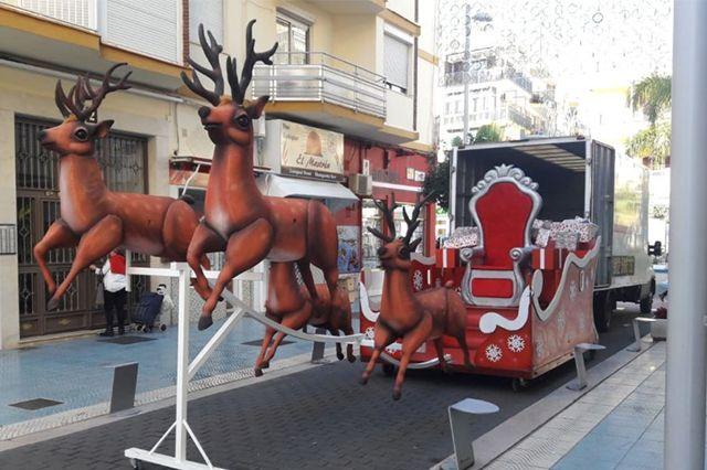 Trineo y Ciervos Papa Noel